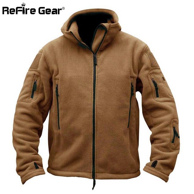 Winter Military Tactical Fleece Jacket Men Warm Polartec US Army Clothes Multiple Pockets Outerwear Casual Hoodie Coat Jackets