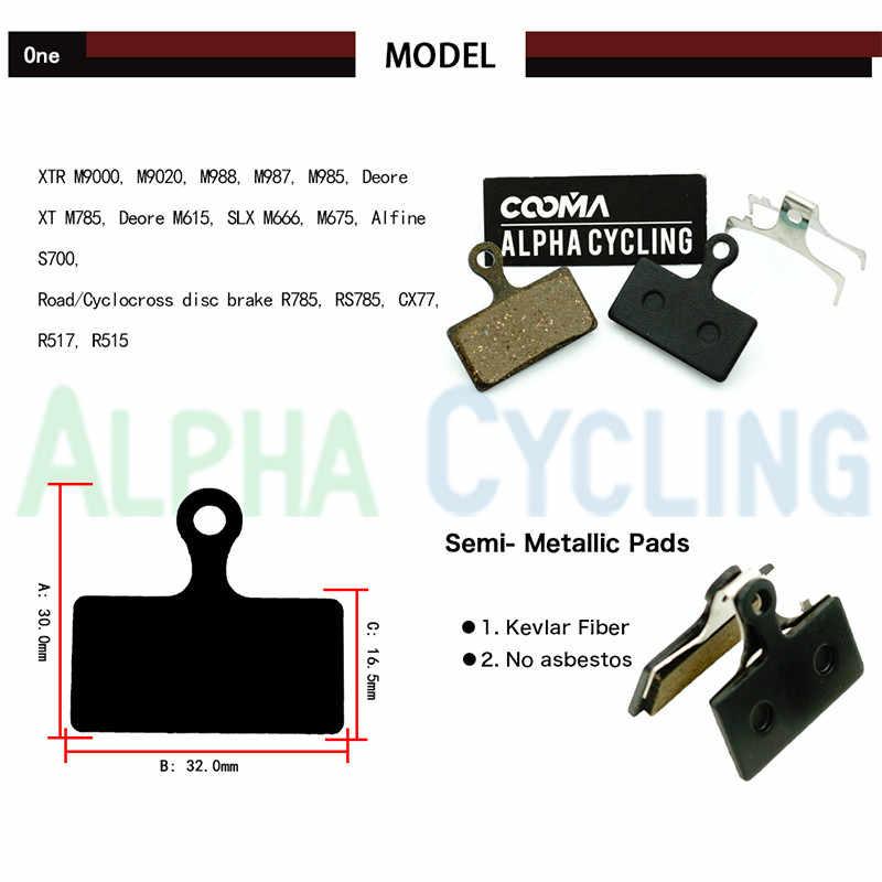 Pastilhas de freio da bicicleta para shimano m9000, m8000, m985, xt m785, slx m666, m675, deore m615, freio a disco alfine s700, 4 pares