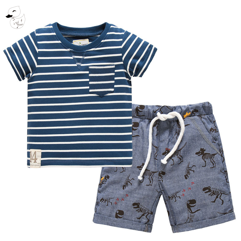 BINIDUCKLING 2018 Summer Boys Sets Boy Clothes Striped T Shirt+Short Pants Cotton Casual Set Children Suits Brand Clothing baby boys girls sets 2018 winter t shirt pants cotton kids costume girl clothes suits for boy casual children clothing 3cs204