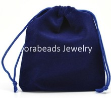 Doreen Box hot-  Dark Blue Velveteen Pouch Jewelry Bags With Drawstring 12x10cm(4-3/4″x3-7/8″),10PCs (B16315)