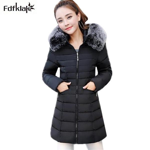 Womens winter jackets 2017 new winter coat women slim long cotton-padded jacket hooded fur parka big size coats manteau femme