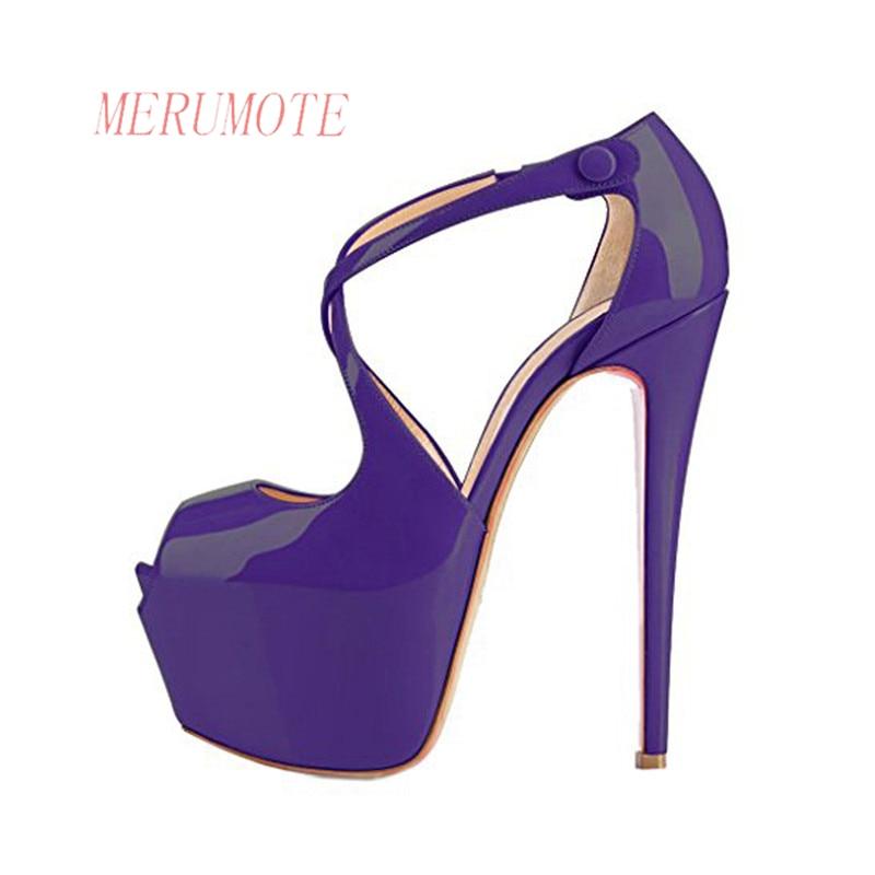 5279868eb59b MERUMOTE Women s J 061 Peep Toe Cross Strap Thin High Heels Ladies Dress Pumps  Shoes For Wedding-in Women s Pumps from Shoes on Aliexpress.com