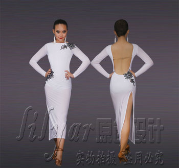 Latin Rumba dress competition dress performance Dress Dance Dress White Sexy Back split skirt