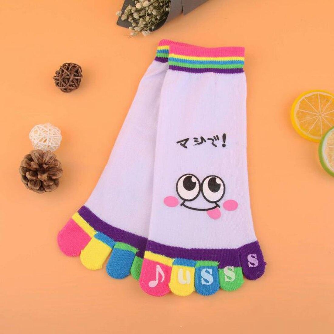 1 Pair Top Sell Womens Cute Casual Five Toe Crew Finger Performance Original Weight Micro Toe Cotton Socks