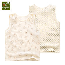 Newborn Baby Vest 2 pcs/lot Round Neck Sleeveless Dots Bear Printed Shoulder-opened Clothes Set Boys & Girls(China)
