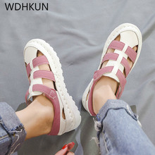 Women Summer Leather Flat Sandals Ladies Beach Casual Shoes Female Footwear Flip Flops Platform Gladiator Princess Sandals 2019