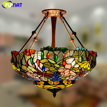 FUMAT Stained Glass Pendant Lamp Pastoral Warm Floral Hanglamp Shade Lights For Living Room Art Glass