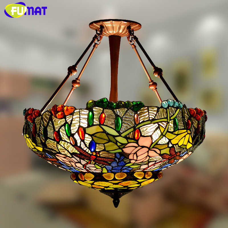 FUMAT Stained Glass Pendant Lamp Pastoral Warm Floral Lamp Shade Light For Living Room Creative  Glass Suspension Pendant Lights fumat stained glass pendant lamps european style baroque lights for living room bedroom creative art shade led pendant lamp