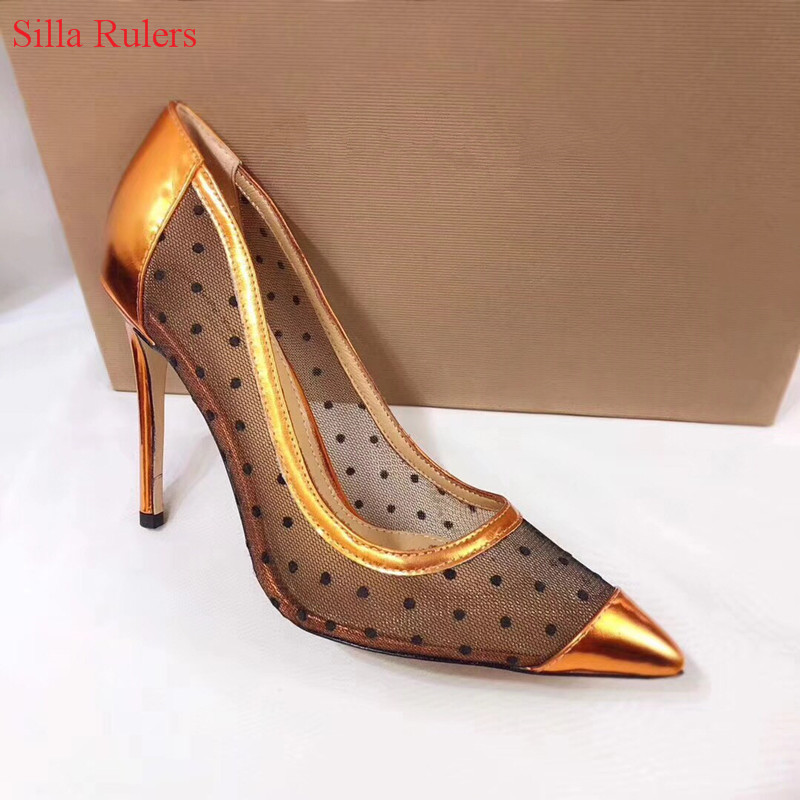 цена на 2018 New Sexy Lace Mesh Leather Patch Women Pumps High Heels Rose Gold Gladiator Sandals Women Wedding Shoes Woman Zapatos Mujer