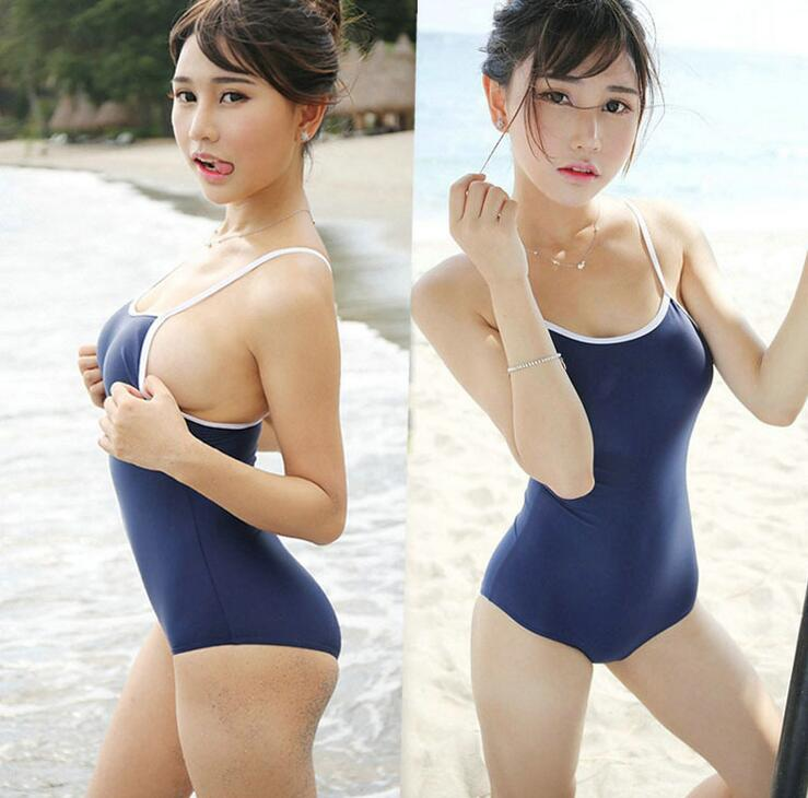 Sukuwater Japanese School Swimwear Girl Student Sexy blue Skirt Cute cosplay Costumes One-piece Swimsuit XL