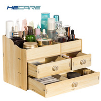 New Wooden Storage Box Organizer for Cosmetics Home Bathroom Wood Box for Makeup Drawer Organizer Pink Blue Desktop Make Up Case