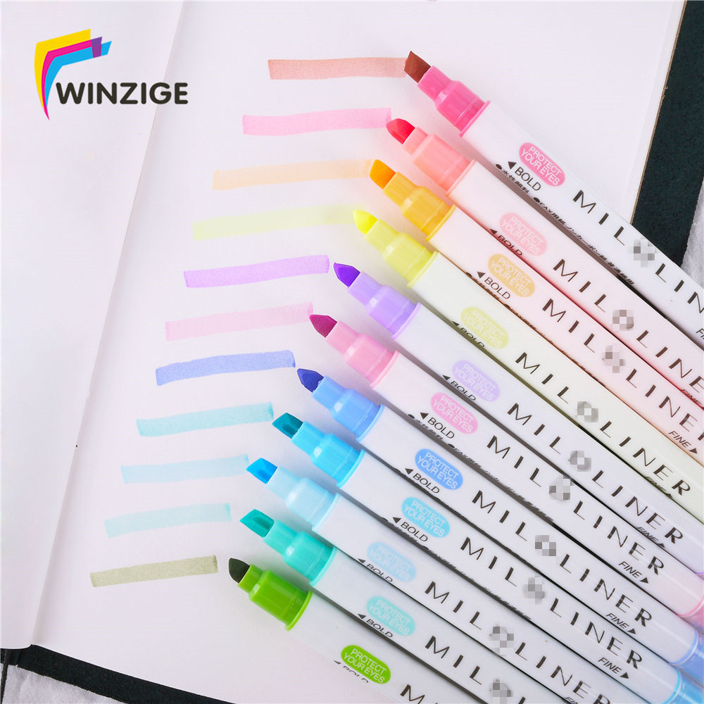 12 Pcs/6 P 12 Colors Milkliner Highlighter Pen Planner Notebook DIY Marking Highlighters For School Colored Pens Cute image