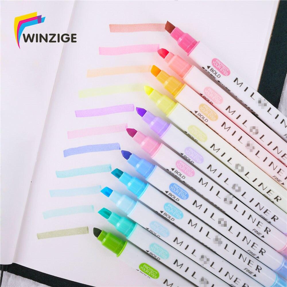 12 pièces/6 P 12 couleurs Milkliner surligneur stylo planificateur cahier bricolage marquage surligneurs pour école stylos colorés mignon