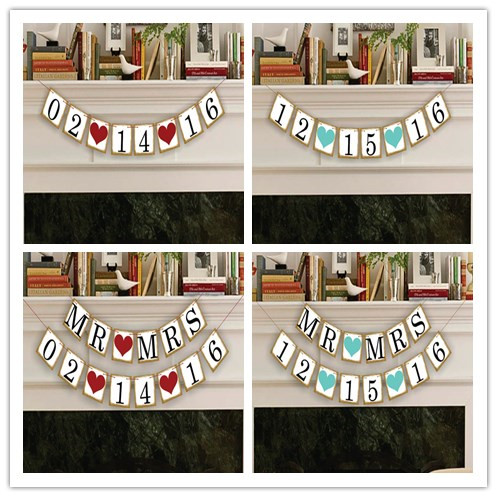Free Shipping 1 X Golden Side Customized Date Banner Save the date Wedding Photo Prop Sign Hanging Bunting Garlands