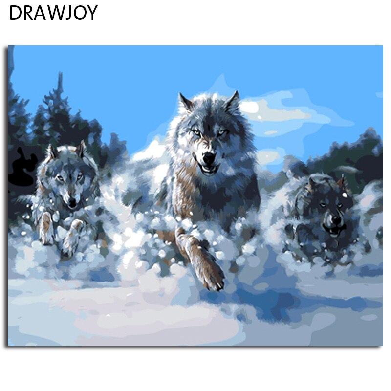 DRAWJOY Astratta Lupo Foto Incorniciata Pittura e Calligrafia Pittura A Olio di DIY Dai Numeri Colorare Dai Numeri GX9433 40*50 cm