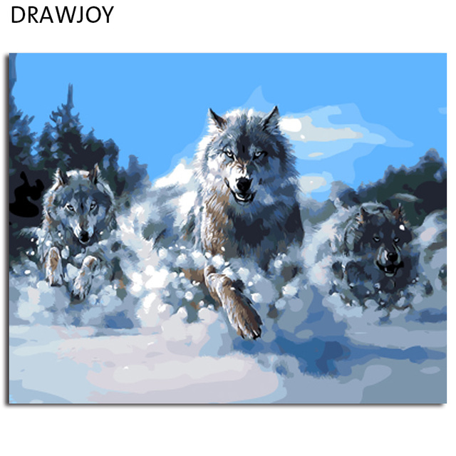 DRAWJOY Abstract Wolf Framed Picture Painting & Calligraphy DIY Oil ...