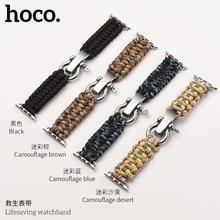 HOCO Correa de reloj de supervivencia al aire libre para Apple Watch, correa de 42/44mm, 38/40 cuerdas de nailon, pulsera para iWatch Series 4 3 2 1