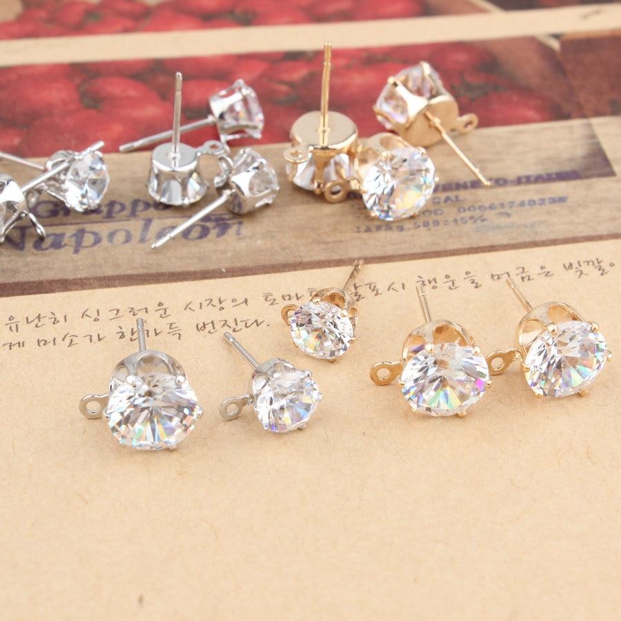 10pcs Gold Silver Color 6/8/10mm Zircon Crystal Ear Stud Findings With Hole Ear Drop Women Girl Diy Earring Brincos