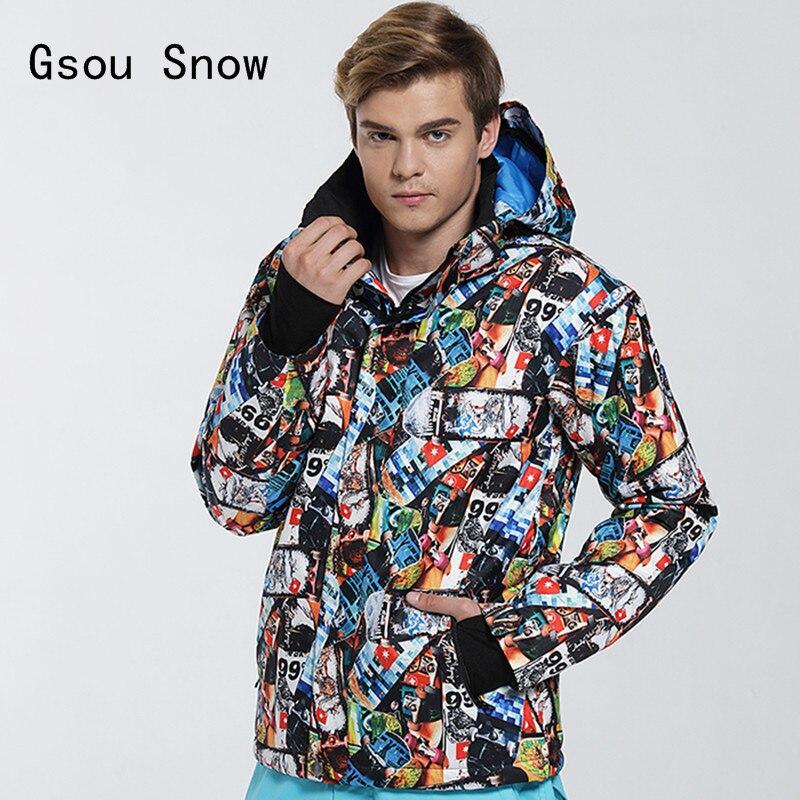 Chaud Gsou neige hommes veste de Ski Super chaud coupe-vent imperméable épaissir thermique mâle Ski Snowboard vêtements manteau