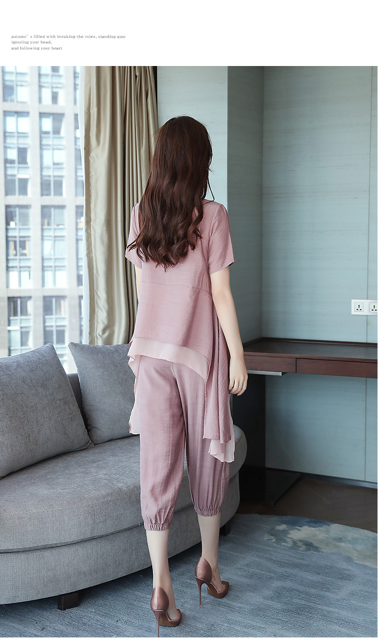 2019 Summer Linen Two Piece Sets Women Plus Size Short Sleeve Tops And Cropped Pants Suits Office Elegant Casual Women's Sets 67
