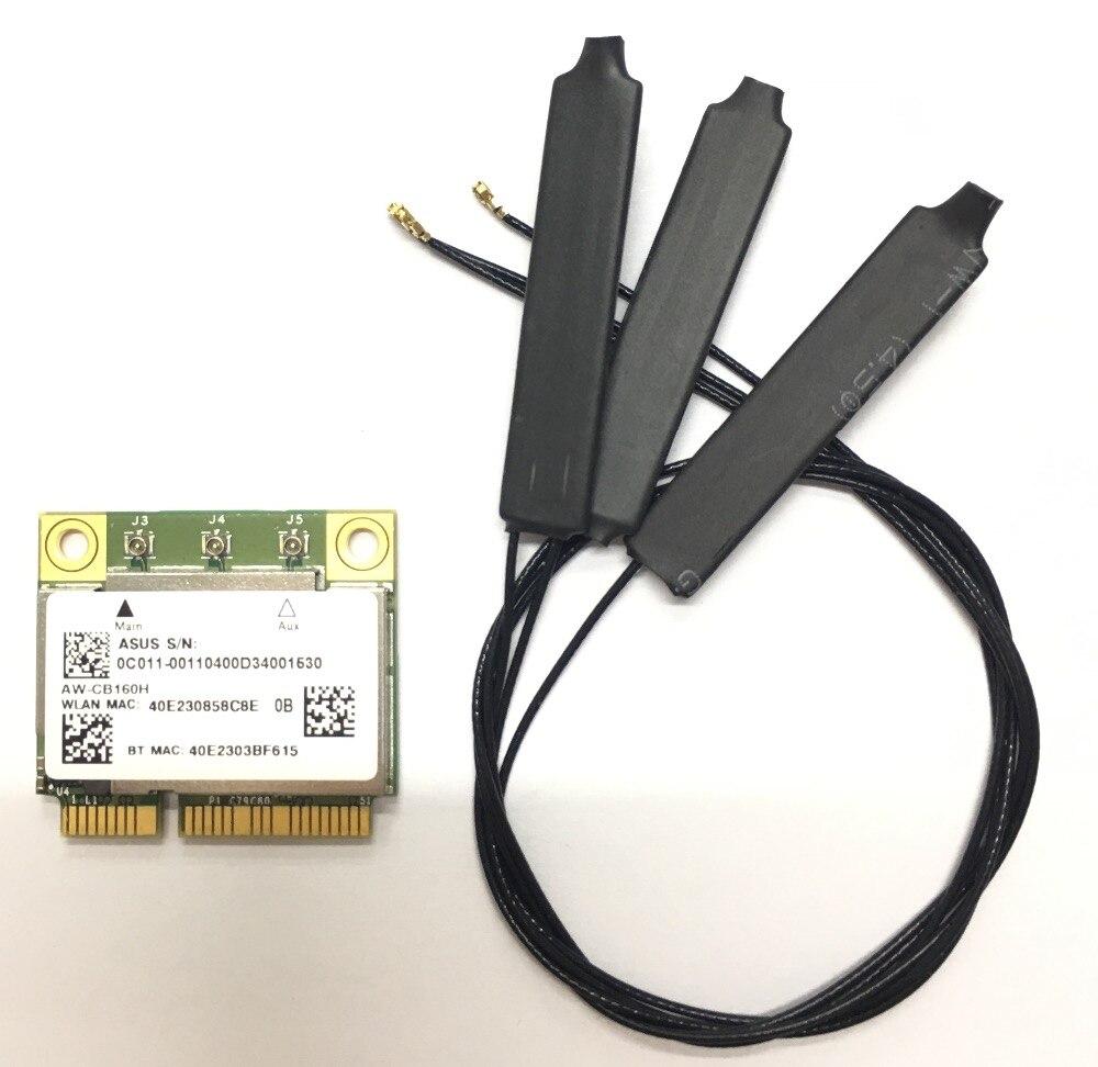 Hauteur azurewave AW-CB160H Broadcom BCM94360HMB 802.11AC 1300 Mbps Sans Fil WIFI WLAN Bluetooth 4.0 Mini PCI-E Carte + 20 cm MHF4 Antenne