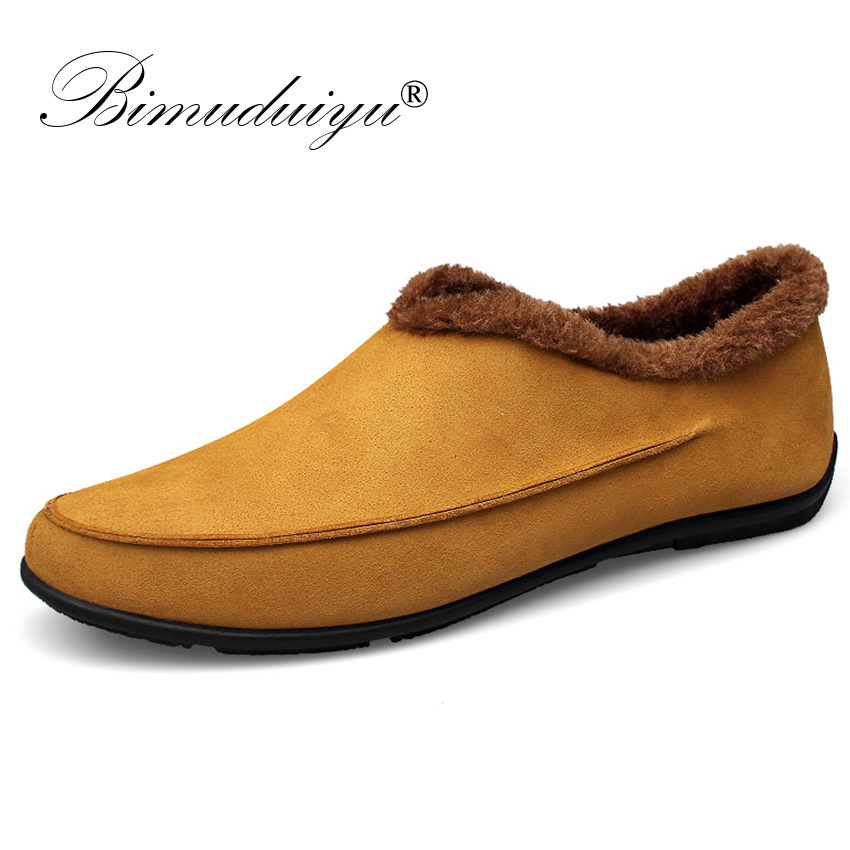 BIMUDUIYU Men Casual Shoes Plus Size 47 48 Suede Leather Men Loafers Warm Winter Shoes With Fur Soft Men Driving Shoes Moccasin