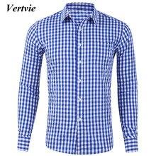 b73a07f845b80e6 VERTVIE Высокое качество для мужчин's повседневные рубашки в клетку  социальных рубашки для мальчиков хлопок с длинным