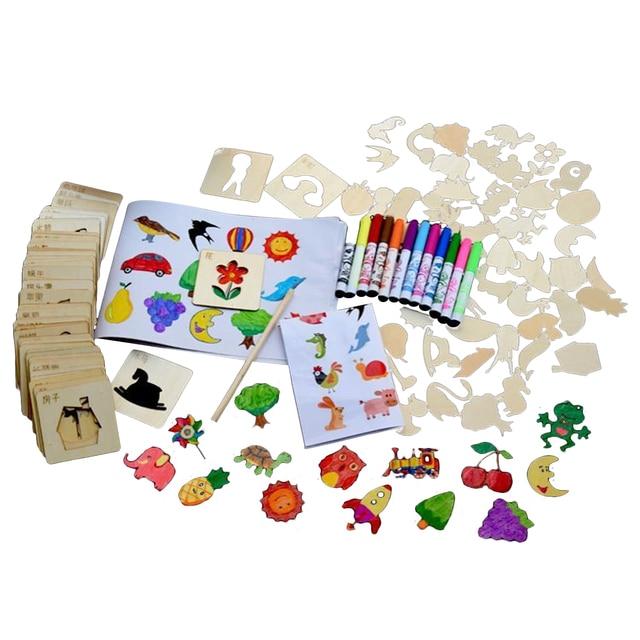 Niños 120 piezas DIY dibujos animados de madera Chip pintura plantillas dibujo plantilla con acuarela pincel pintura Graffiti juguetes para colorear