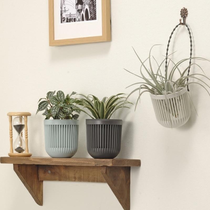 Lovely Basket Wall Hanging Flower Pot Balcony Garden Decor Tillandsia Rattan Planter Bonsai Stand Cactus Orchid Cachepot