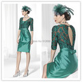 2016 New Arrival Fashion Half Sleeve With Jacket A-line Taffeta Knee Length Green Mother Of the Bride Dresses
