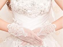 2016 branco elegante Laço Nupcial Luvas Flor Broto de seda bordado luvas de Casamento Appliqued GL(China (Mainland))