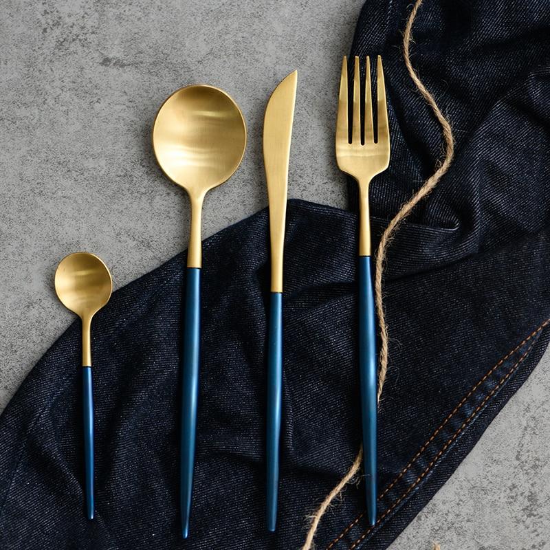 4Pcs/set High Quality 24K Gold Bule Cutlery Set Western Stainless Steel Tableware Fork Knife Table Dinnerware Set Drop Shipping-in Dinnerware Sets from Home ... & 4Pcs/set High Quality 24K Gold Bule Cutlery Set Western Stainless ...