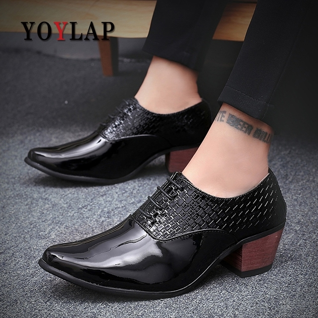 Mens Shoes High Heels Men Shoes Heel Heeled White Dress Shoes For Men Formal Leather Wedding Crocodile Shoes For Men Party