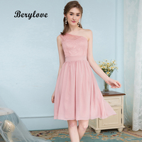 BeryLove Short One Shoulder Blush Bridesmaid Dresses 2018 Mini Pink Chiffon Lace Bridesmaid Gowns Style Wedding Party Dresses