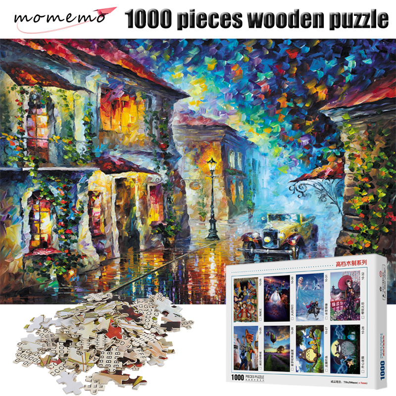 MOMEMO Adult Puzzles 1000 Pieces Wooden Puzzle Landscape Jigsaw Puzzles for Adult Assembling Toys Puzzles Game for Children Gift