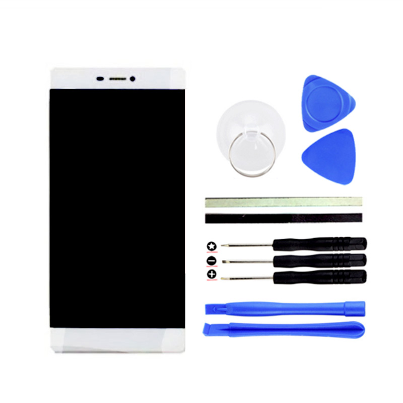 ФОТО 1PCS 5inch LCD Display + Digitizer Touch Screen Replacement For HuaWei Ascend P8 Cell Phone Parts White +Free Tools