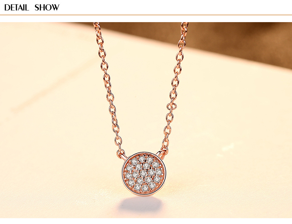 sterling silver pendant necklace clavicle chain sleek minimalist rose gold ladies accessories C07 alloy rose flower pendant necklace