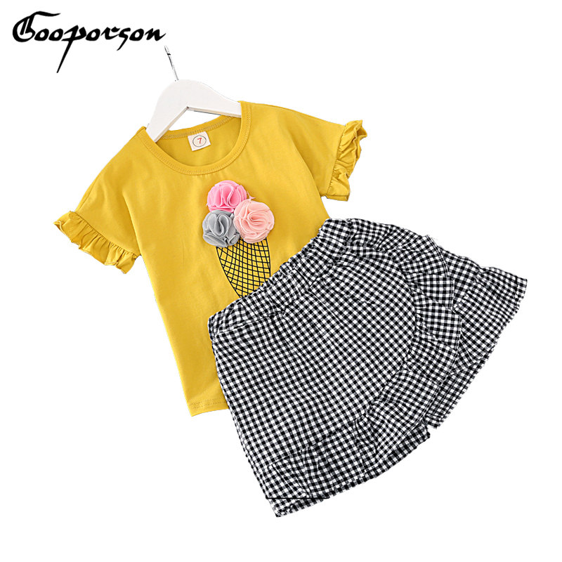 Girls Clothes Set Fashion Ice Cream Yellow Shirt With Plaid Pants 2 pcs Children Clothing Set Lovely Set Baby Kids Summer Outfit 2pcs children outfit clothes kids baby girl off shoulder cotton ruffled sleeve tops striped t shirt blue denim jeans sunsuit set