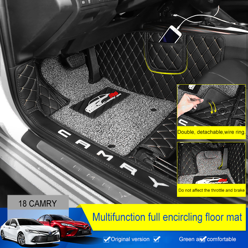 QHCP микрофибра кожа автомобиль пол провода коврик полный Хемминг Новое поступление Нескользящие пыли коврик для ног аксессуар для toyota Camry 2018