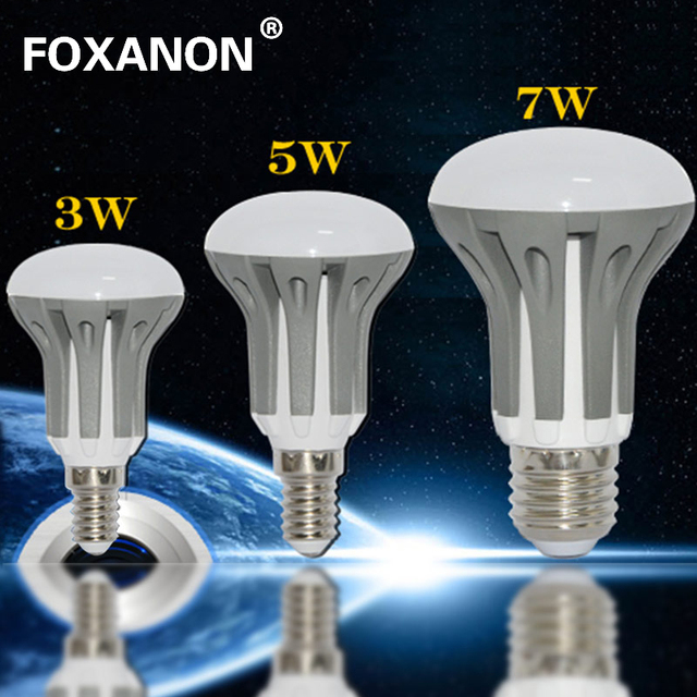 100% Foxanon Brand Dimmable E27 E14 LED Light 3W 5W 7W 220V LED Bulb 2835 SMD CHIP Lamps High quality Lighting R39 R50 R63 1PCS