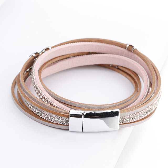 Amorcome Leather Bracelets For Women Bracelets & Bangles Leaf Charm Boho Multi Layers Wrap Bracelet Femme Jewelry Gift