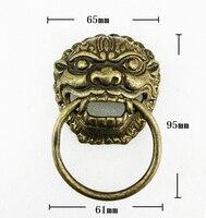 ברונזה עתיק ידית מקוש דלת ראש האריה הסיני ( גדלים : 65 מ