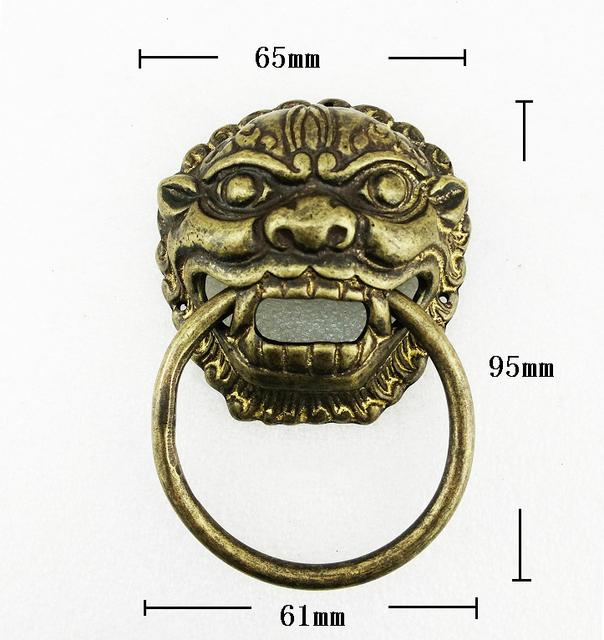 Bronze antigo chinês da cabeça do leão maçaneta batedor ( tamanhos : 65 mm * 95 mm )
