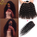 Ali Moda Hair Water Wave With Closure 8A Unprocessed Virgin Human Hair Curly Weave With Closure Peruvian Virgin Hair Water Wave