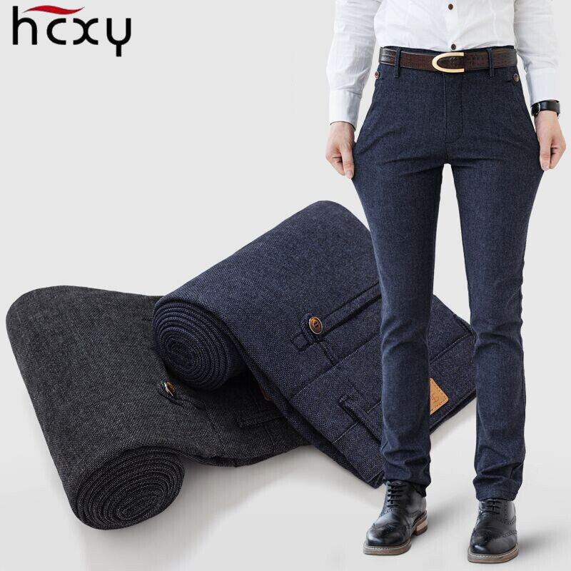 HCXY 2019 Autumn Winter Men's Pants Male Pant Straight Men Smart Casual Trousers Full length Thick Micro strech Simple style
