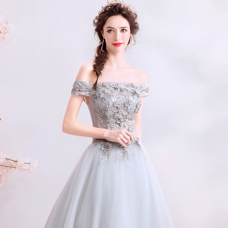 Prom Dresses Sexy Backless Grey Boat Neck Short Sleeves Dresses Women Party Night Custom Plus Size Vestidos De Gala 2019 E235 in Prom Dresses from Weddings Events