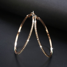Geometric Round Rhinestone Crystal Silver Gold Color Stainless Steel Zinc Alloy Romantic Trendy Women Hoop Earrings