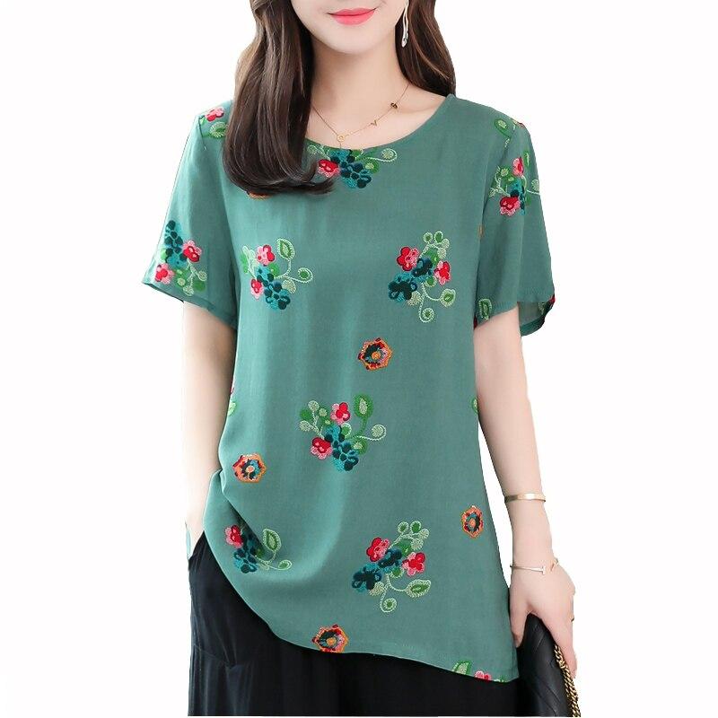 2019 New women summer   Blouse     Shirt   Tops print casual o-neck short Sleeves Blusas Femininas plus size womens clothing