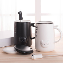 Cute Cat  Ceramic Mugs with Lid & Spoon Cartoon Creative  Mug Milk Coffee Tea mug Cup  Porcelain Mugs Home Office Drinkware Gift