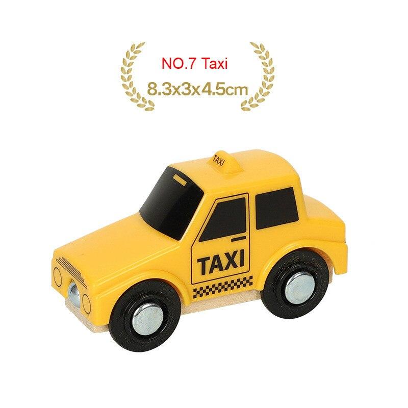 EDWONE деревянный магнитный Поезд Самолет деревянная железная дорога вертолет автомобиль грузовик аксессуары игрушка для детей подходит Дерево Biro треки подарки - Цвет: NO.7 Taxi